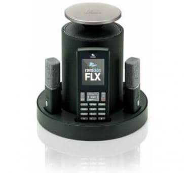 Revolabs FLX 2 VoIP conferencing system with 2 table microphones and 2 speakers